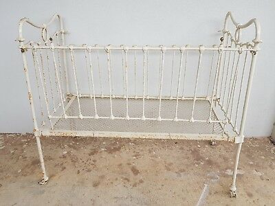 Original condition antique cast/ wrought iron cot or day bed - dismantles