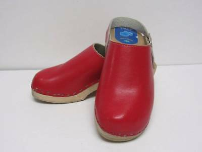 Cape Clogs Girls Clog Shoes Size 3 34 Red Leather Christmas Sweden Wood Sole