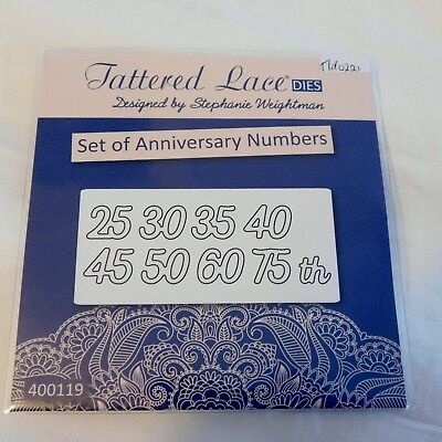 Set of ANNIVERSARY NUMBERS - DIE SET TLD0221 TATTERED LACE Stephanie Weightman