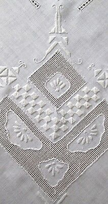 excellent antique linen tablecloth w lots of drawnwork + embroidery 85x70""