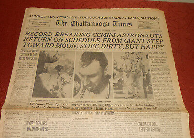 Gemini 7 Recovery 14 Days Dec 19, 1965 Chattanooga Times Newspaper