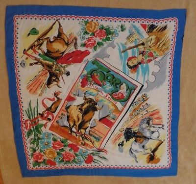 "Seville, Spain souvenir scarf, 31"" square, bright primary colors, bull fighting"