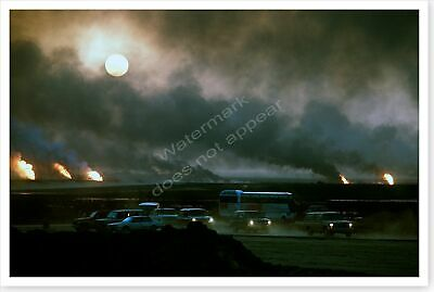 Burning Oil Wells Operation Desert Storm Aftermath 8x12 Photo