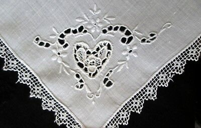 fine antique linens set: 8 placemats+8 napkins w Italian lace, cutwork, embr VG