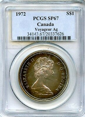 1972 PCGS SP67 Canada Voyager Ag Monster Rainbow Toned Silver Dollar