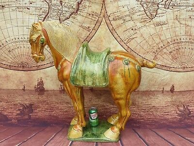 Huge 3' FT Tall Decorative Tang Dynasty Tri Colored Glazed Pottery Horse Statue