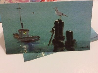 Vintage Unused Disney Artist Tyrus Wong Christmas Card Watercolor HOLIDAY HARBOR