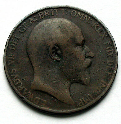 1907 UK (British) Edward VII Coin - One Penny (1d) -