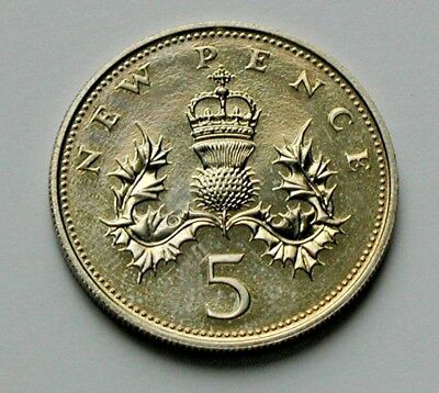 1977 UK (British) Elizabeth II Coin - 5 Pence (5p) - UNC (from mint set) - toned