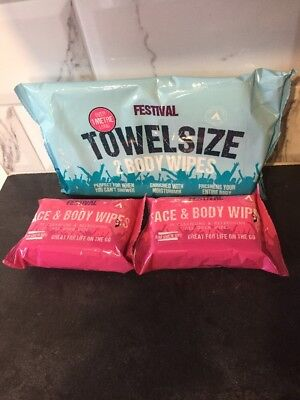 Festival Camping 1x 2 pack Towel Size Wet Wipes And 2x 25 Face & Body Wipes Pack