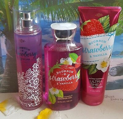 bath and body works bourbon strawberry & vanilla shower gel cream fragrance mist