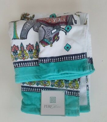 Peri Home 3 Pc Elephant Bath Towel Set WashCloth Bathroom Floral New