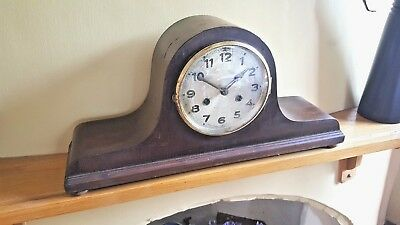 Antique Napoleon Hat Striking Mantel Clock  Good Working Order + Key & Pendulum