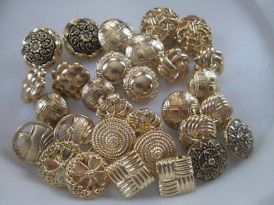 Lot Of 30 Assorted Gold & Antique Gold Color 2 Of 15 Style Shank Buttons, New