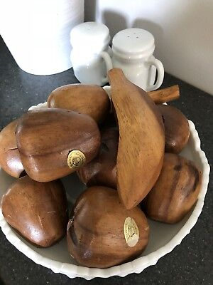 Vintage Wood Fruit Home Decor Farmhouse Genuine Monkey Pod Wood Boho 10 Piece