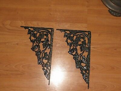 "Antique Pair (2) Ornate Grapevine Design Cast Iron Shelf Brackets Large 13"" x 8"""