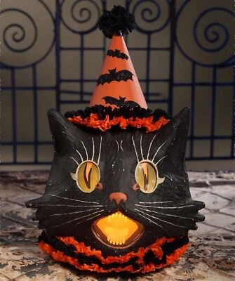 Bethany Lowe Halloween Sassy Black Cat Paper Mache Lantern Light Included! 20''H