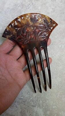 Antique Spanish Hand Carved Pierced Mantilla Hair Comb Faux Tortoise Shell
