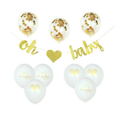 Gender Reveal Decoration Oh Baby Baby Shower Gold Banner Confetti Balloons Pack