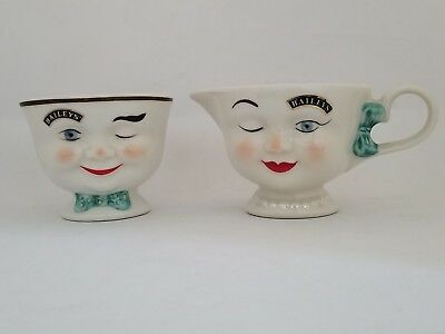 Baileys YUM Winking Eye Face Mr & Mrs Creamer  & Sugar 1996 Limited Edition