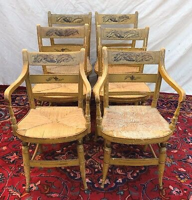 Set Of Six Antique Sheraton Fancy Chairs In Old Mustard Paint