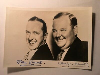 Laurel & Hardy Very Rare Early Vintage Dual Autographed Photo Way Out West