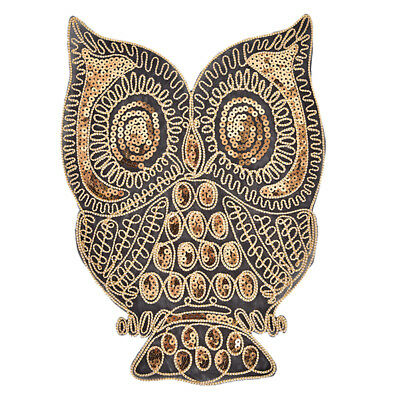 Owl Sequined Embroidered Patches Iron on Applique Animal Bird Fabric StickerSN