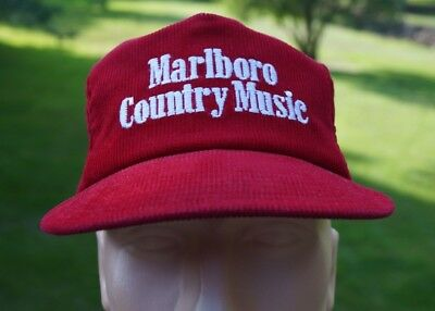 VTG Marlboro Country Music 80s Red Corduroy Hat Cap Snapback Made In USA   Loc:M