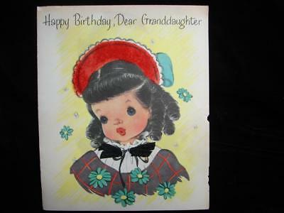 """Vintage """"for A Mighty Dear Granddaughter!!"""" Birthday Greeting Card"""