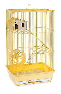 Hamster Gerbil Mouse Pet Cage 3 Level Pig Rat Home Wire Small Animal House Yello