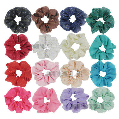 Pack of 16 Chiffon Hair Scrunchies with Gold Dots Ponytail Holders Ship from USA