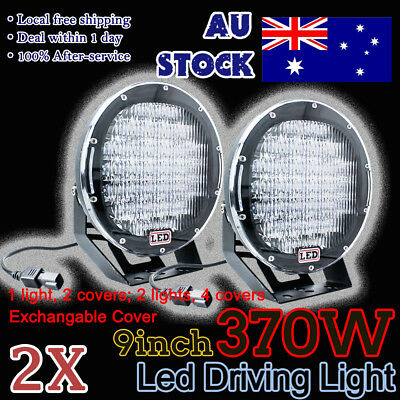 Pair 9inch LED Driving Light Cree Black Round Spotlight BAR Offroad Red 12v 370W