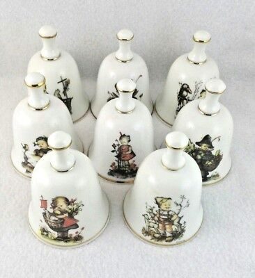 "Hummel 1988""The Children of Hummel"" Bells  LOT  of 8 22KT PORCELAIN Collectibles"