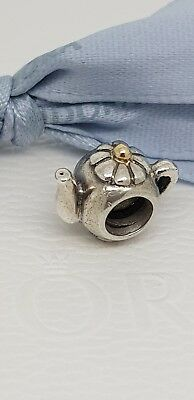 7db3f7202 Authentic Pandora Two Tone Teapot Charm Silver & 14k Gold 790250 Retired