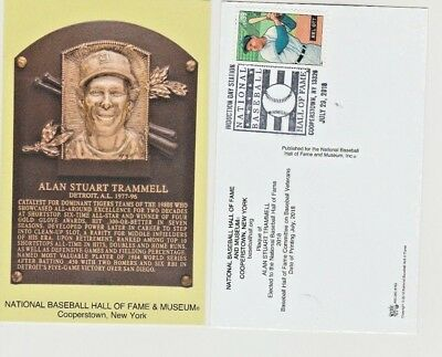 Alan Trammell Hall Of Fame Plaque Post Card 2018 Postal Cancelled!!