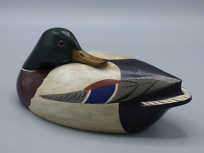 Charles Chas Moore Carved Wood Wooden Duck Decoy Vintage 1978 Signed