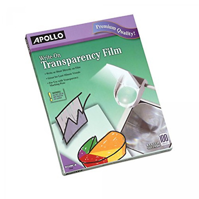 Apollo Write-On Transparency Film, 8.5 x 11 Inches, Clear, 100 Sheets per Box (