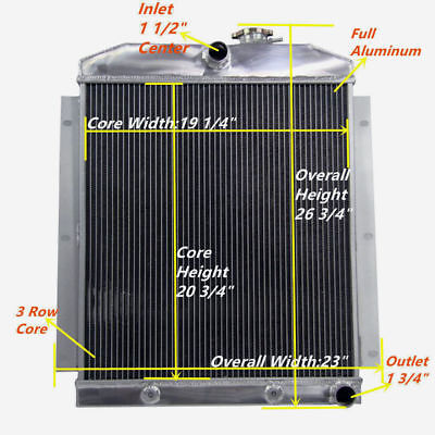 "3-ROW ALUMINUM RADIATOR+1X 14/""FAN BLACK FOR 47-54 CHEVY 3100//3600//3800 PICKUP l6"