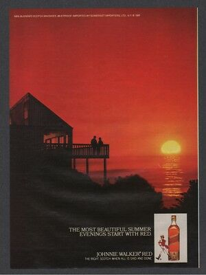 1981 Johnnie Walker Red Scotch Whiskey sunset waterfront beach Ad