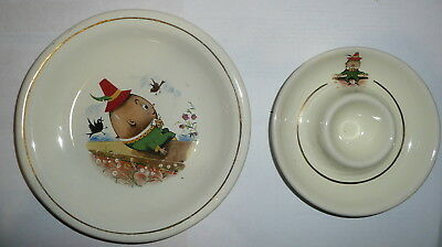 Matching Egg Cup and & Saucer Set Humpty Dumpty Willsgrove Ware Pottery Rhodesia