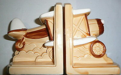Vintage Aircraft Ceramic Bookends Retro Biplane