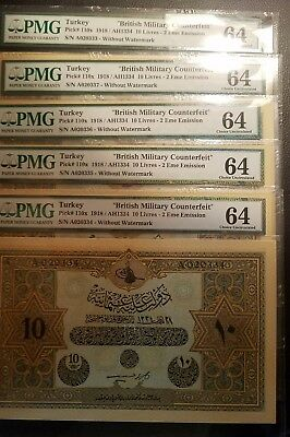 turkey ottoman 10 livres 1918 military counterfeit PMG 64 running serial availab