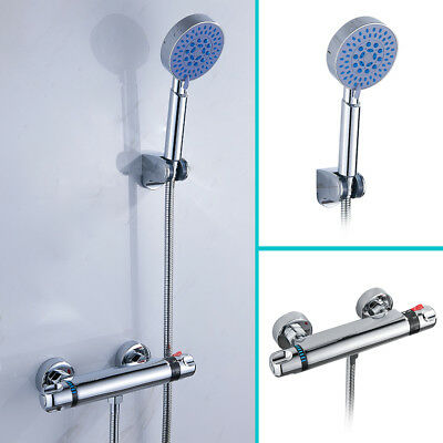 Thermostatic Bath Shower Mixer Taps Wall Mounted Chrome Bathroom Shower Head NEW