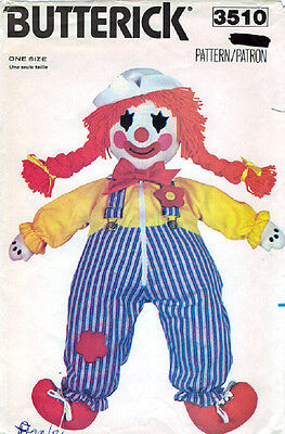 Crafts - Dolls - Butterick 3510 - Learning Clown - Pattern