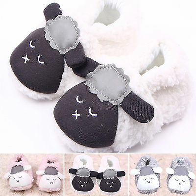 Baby Boys Girls Soft Plush Lamb Slippers Toddler Kids Cute Prewalker First Shoes