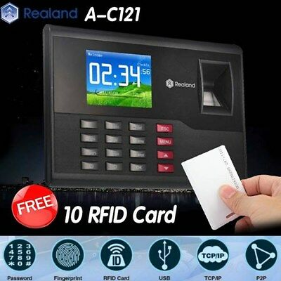 Realand A-C121 Biometric Fingerprint Time Attendance Clock TCP/IP USB FREE Cards