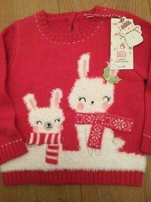 Mothercare Age 18-24 Months Girls Rabbit Christmas Jumper ☃️ Bnwt **