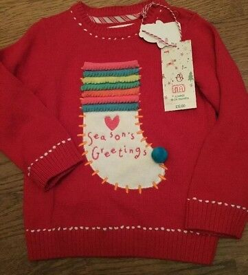Mothercare Age 18-24 Months Girls Christmas Jumper ☃️ Bnwt **