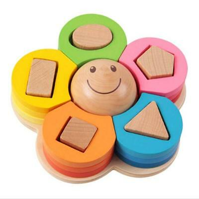 Child Kids Wooden Learning Educational Toy Geometry Block Montessori Fine ToysFW