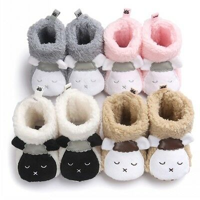 Baby Girls Boy Winter Warm Boots Newborn Toddler Fleece Fur Soft Sole Crib Shoes